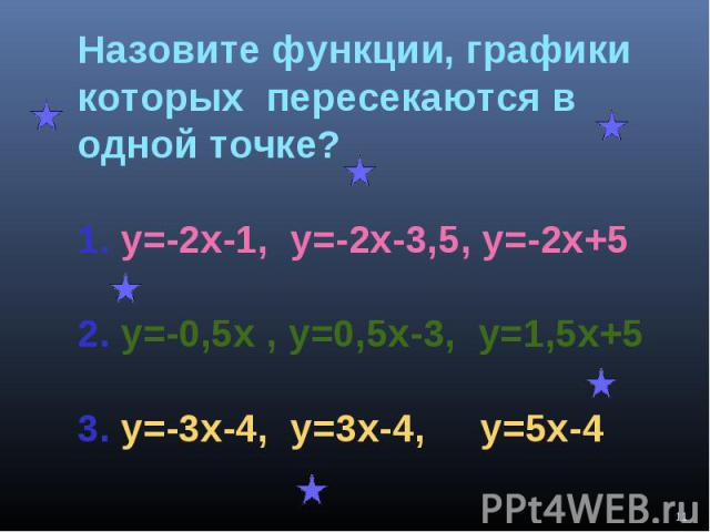 Назовите функции, графики которых пересекаются в одной точке?1. у=-2х-1, у=-2х-3,5, у=-2х+52. у=-0,5х , у=0,5х-3, у=1,5х+53. у=-3х-4, у=3х-4, у=5х-4