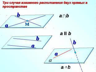 Три случая взаимного расположения двух прямых в пространстве