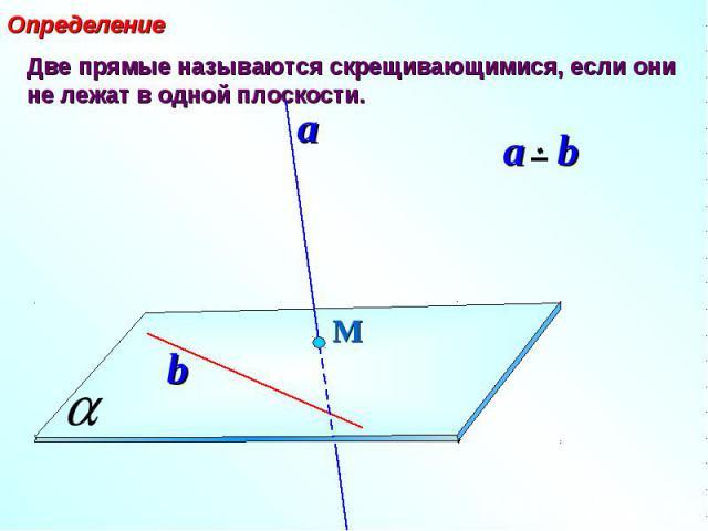 Определение Две прямые называются скрещивающимися, если они не лежат в одной плоскости.