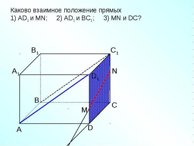 Каково взаимное положение прямых1) AD1 и МN; 2) AD1 и ВС1; 3) МN и DC?