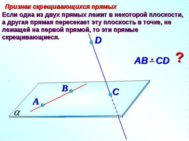 Признак скрещивающихся прямых Если одна из двух прямых лежит в некоторой плоскости, а другая прямая пересекает эту плоскость в точке, не лежащей на первой прямой, то эти прямые скрещивающиеся. АВ СD