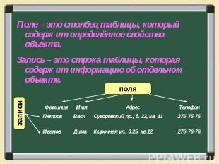 Поле – это столбец таблицы, который содержит определённое свойство объекта.Запис