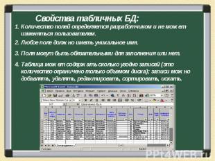 Количество полей определяется разработчиком и не может изменяться пользователем.