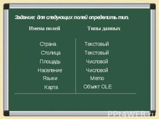 Задание: для следующих полей определить тип. Страна Столица Площадь Население Яз