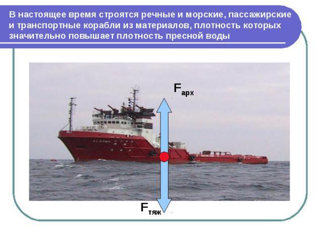 В настоящее время строятся речные и морские, пассажирские и транспортные корабли из материалов, плотность которых значительно повышает плотность пресной воды