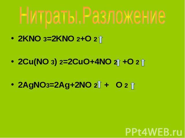 Нитраты.Разложение 2KNO 3=2KNO 2+O 22Cu(NO 3) 2=2CuO+4NO 2 +O 2 2AgNO3=2Ag+2NO 2 + O 2