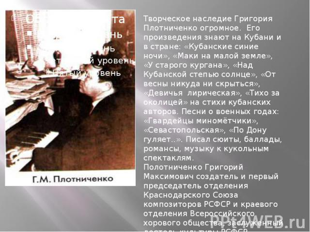 Творческое наследие Григория Плотниченко огромное. Его произведения знают на Кубани и в стране: «Кубанские синие ночи», «Маки на малой земле», «У старого кургана», «Над Кубанской степью солнце», «От весны никуда ни скрыться», «Девичья лирическая»,…