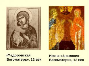 «Федоровская Богоматерь», 12 век Икона «Знамение Богоматери», 12 век