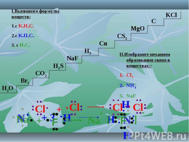 I.Выпишите формулы веществ:1.с К.Н.С.2.с К.П.С.3. с И.С. II.Изобразите механизм образования связи в веществах::Cl2NH3NaF