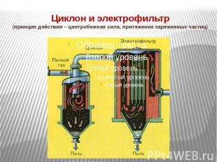 Циклон и электрофильтр(принцип действия – центробежная сила, притяжение заряженн
