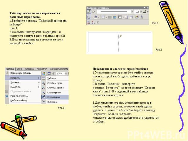 """Таблицу также можно нарисовать с помощью карандаша.Выберите команду""""Таблица/Нарисовать таблицу"""" (рис.1)Возьмите инструмент""""Карандаш""""и нарисуйте контур вашей таблицы. (рис.2)Поставьте карандаш в…"""