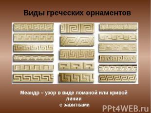 Виды греческих орнаментов Меандр – узор в виде ломаной или кривой линии с завитк