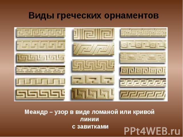 Виды греческих орнаментов Меандр – узор в виде ломаной или кривой линии с завитками