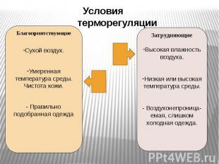 Условиятерморегуляции БлагоприятствующиеСухой воздух.Умеренная температура среды