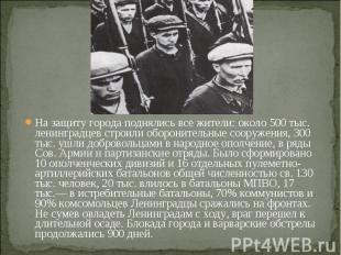 На защиту города поднялись все жители: около 500 тыс. ленинградцев строили оборо