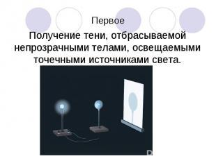 Получение тени, отбрасываемой непрозрачными телами, освещаемыми точечными источн
