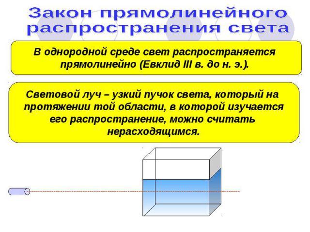 Закон прямолинейного распространения света В однородной среде свет распространяется прямолинейно (Евклид III в. до н. э.). Световой луч – узкий пучок света, который на протяжении той области, в которой изучаетсяего распространение, можно считать нер…