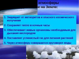 Значение атмосферы для жизни на Земле: Защищает от метеоритов и опасного космиче