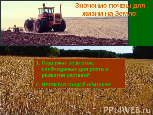 Значение почвы для жизни на Земле: Содержит вещества, необходимые для роста и развития растенийЯвляется средой обитания