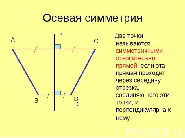 Две точки называются симметричными относительно прямой, если эта прямая проходит через середину отрезка, соединяющего эти точки, и перпендикулярна к нему.
