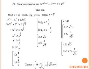 С2. Решите неравенство ОДЗ: x > 0; пусть