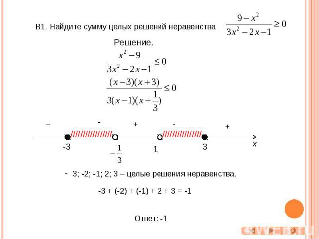 В1. Найдите сумму целых решений неравенства 3; -2; -1; 2; 3 – целые решения неравенства. -3 + (-2) + (-1) + 2 + 3 = -1
