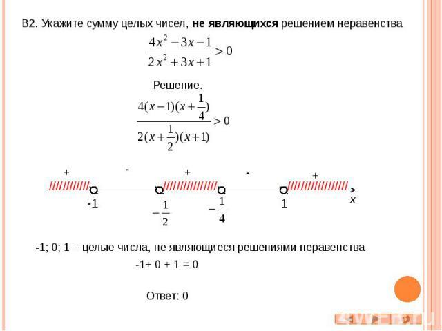 В2. Укажите сумму целых чисел, не являющихся решением неравенства Решение. -1; 0; 1 – целые числа, не являющиеся решениями неравенства -1+ 0 + 1 = 0