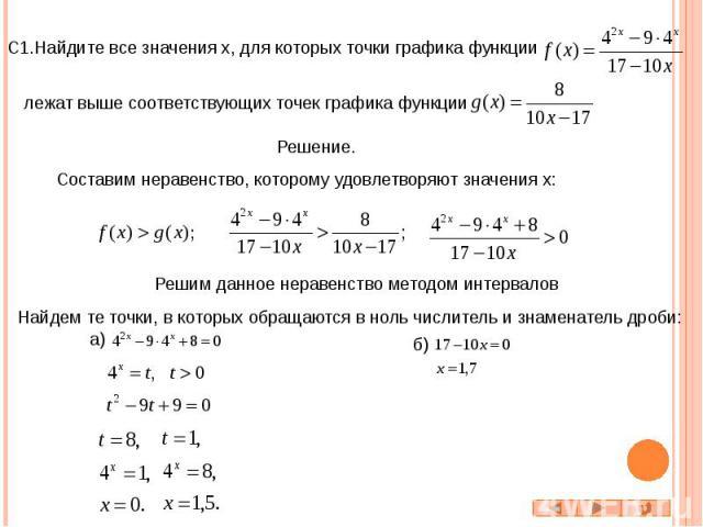 С1.Найдите все значения x, для которых точки графика функции лежат выше соответствующих точек графика функции Составим неравенство, которому удовлетворяют значения x: Решим данное неравенство методом интервалов Найдем те точки, в которых обращаются …