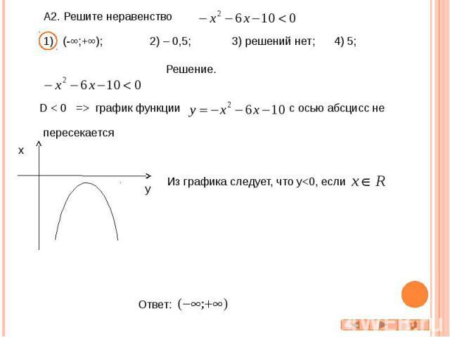 А2. Решите неравенство 1) (-∞;+∞); 2) – 0,5; 3) решений нет; 4) 5; D < 0 => график функции с осью абсцисс не Из графика следует, что y