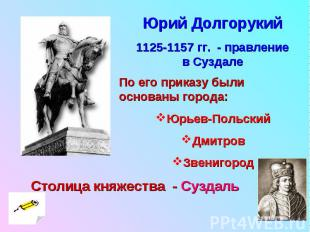 Юрий Долгорукий1125-1157 гг. - правление в Суздале По его приказу были основаны