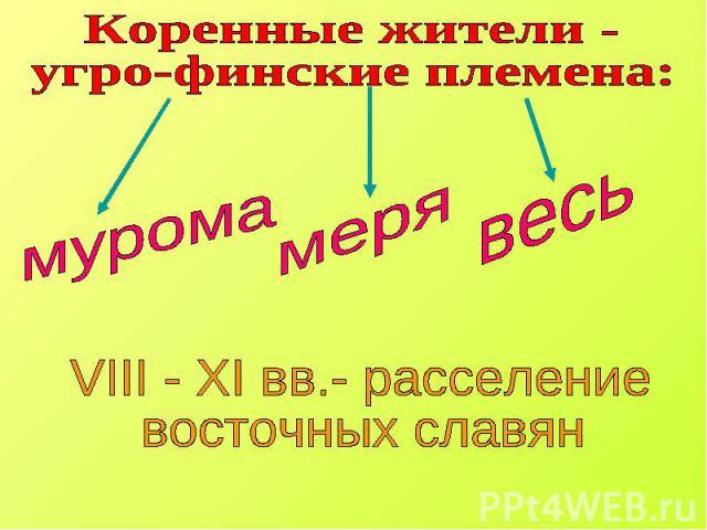Коренные жители - угро-финские племена: VIII - XI вв.- расселение восточных славян