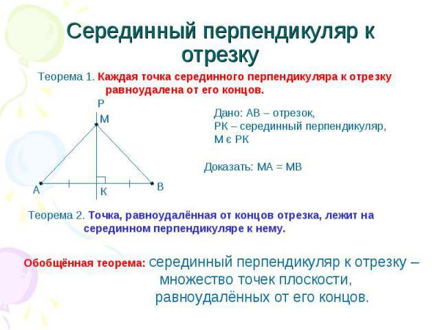 Серединный перпендикуляр к отрезку Теорема 1. Каждая точка серединного перпендикуляра к отрезку равноудалена от его концов. Дано: АВ – отрезок, РК – серединный перпендикуляр,М є РК Теорема 2. Точка, равноудалённая от концов отрезка, лежит на середин…