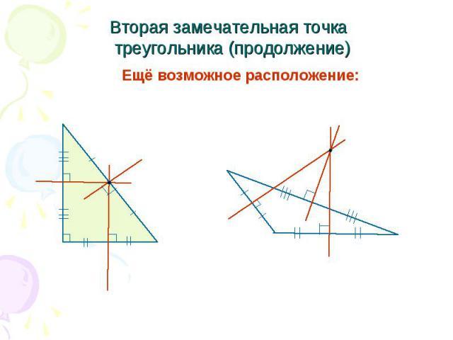 Вторая замечательная точка треугольника (продолжение) Ещё возможное расположение: