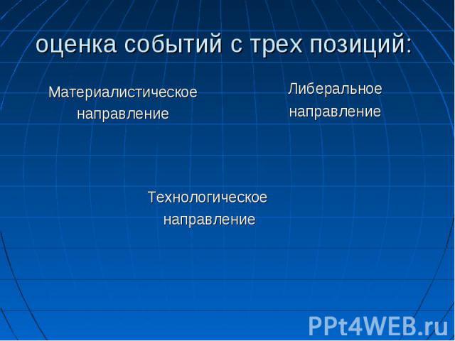 оценка событий с трех позиций: Материалистическоенаправление Технологическое направление Либеральное направление
