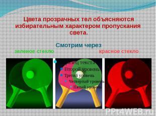 Цвета прозрачных тел объясняются избирательным характером пропускания света.Смот