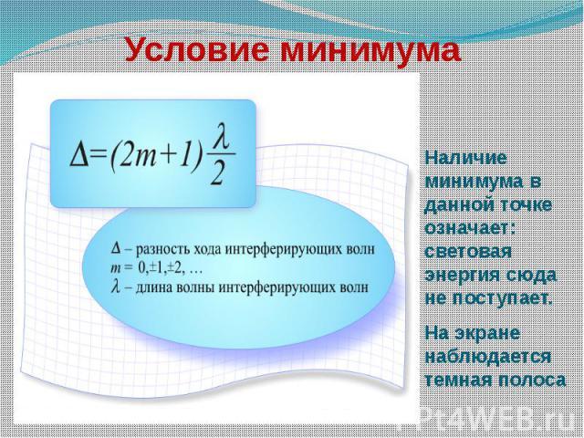 Условие минимума Наличие минимума в данной точке означает: световая энергия сюда не поступает.На экране наблюдается темная полоса