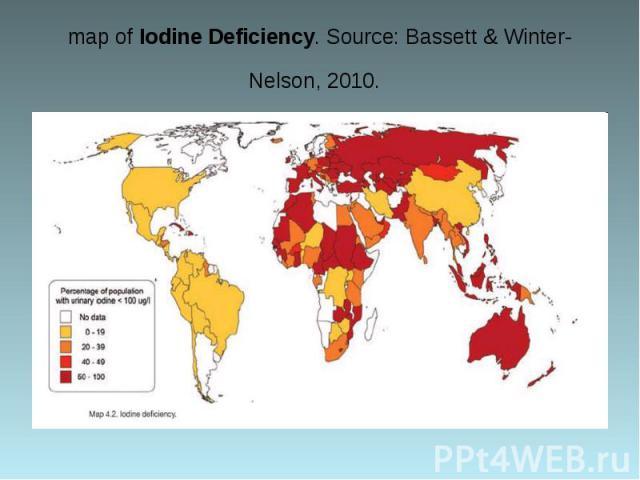 map of Iodine Deficiency. Source: Bassett & Winter-Nelson, 2010.