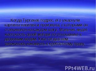Когда Тургенев подрос, его ужаснули картины насилия и произвола, с которыми он с