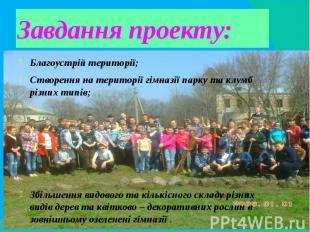 Завдання проекту:Благоустрій території;Створення на території гімназії парку та
