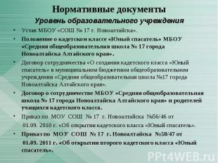 Уровень образовательного учрежденияУстав МБОУ «СОШ № 17 г. Новоалтайска». Положе