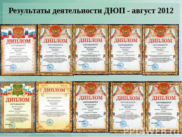 Результаты деятельности ДЮП - август 2012