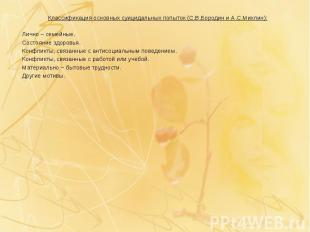Классификация основных суицидальных попыток (С.В.Бородин и А.С.Михлин): Классифи
