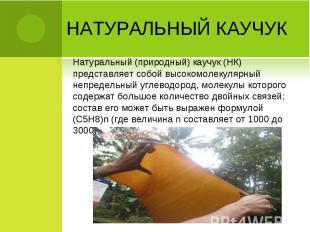 Натуральный (природный) каучук (НК) представляет собой высокомолекулярный