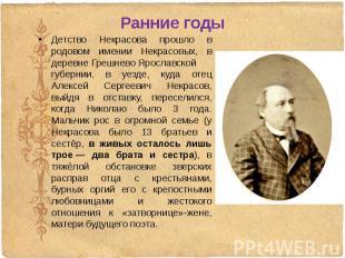 Ранние годы Детство Некрасова прошло в родовом имении Некрасовых, в деревне&nbsp