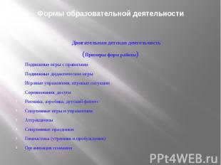 Формы образовательной деятельностиДвигательная детская деятельность(Примеры форм