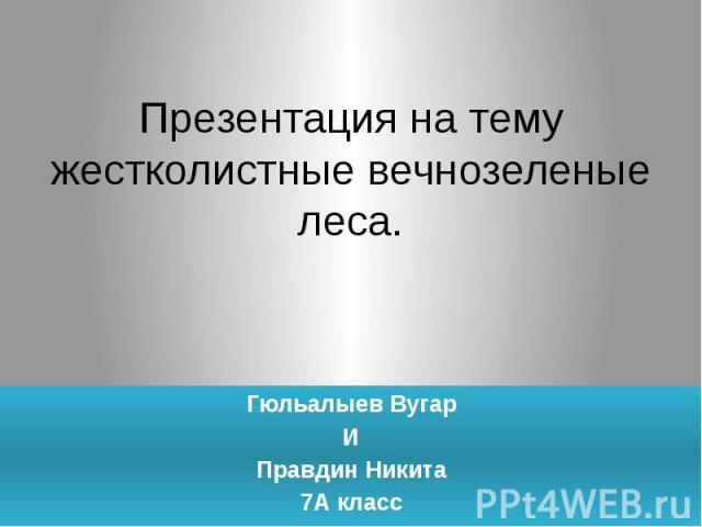 Презентация на темужестколистные вечнозеленые леса.Гюльалыев ВугарИПравдин Никита7А класс