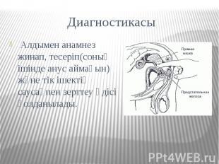 Диагностикасы Алдымен анамнез жинап, тесеріп(соның ішінде анус аймағын) және тік