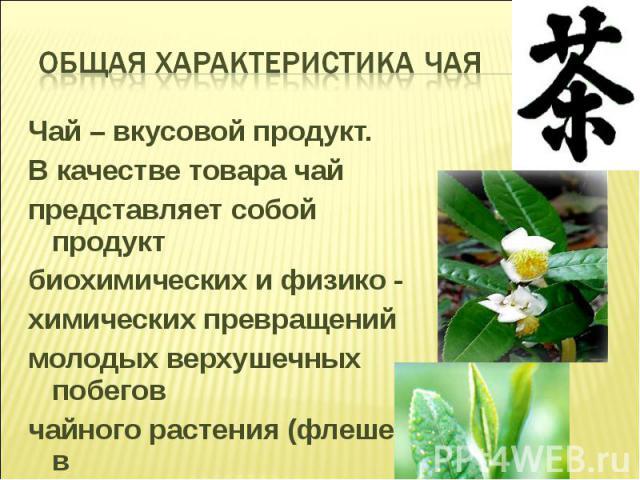 Чай – вкусовой продукт. Чай – вкусовой продукт. В качестве товара чай представляет собой продукт биохимических и физико - химических превращений молодых верхушечных побегов чайного растения (флешей) в процессе их переработки.