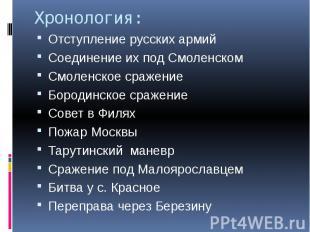 Хронология: Отступление русских армий Соединение их под Смоленском Смоленское ср