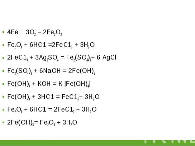 4Fе + 3О2 = 2Fе2О3 4Fе + 3О2 = 2Fе2О3 Fе2О3 + 6НС1 =2FеС13 + 3Н2О 2FеС13 + 3Аg2SО4 = Fе2(SО4)3+ 6 AgCl Fе2(SО4)3 + 6NаОН = 2Fе(ОН)3 Fе(ОН)3 + КОН = К [Fе(ОН)4] Fе(ОН)3 + 3НС1 = FеС13 + 3Н2О Fе2О3 + 6НС1 = 2FеС13 + 3Н2О 2Fе(ОН)3 = Fе2О3 + 3Н2О